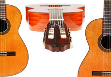 Set of spanish acoustic guitars close up Stock Images