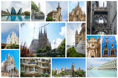Set of Spanish attractions Stock Photography