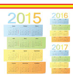 Set of Spanish 2015, 2016, 2017 color vector calendars. Week starts from Monday Royalty Free Stock Images