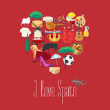 Set of Spanish landmarks, culture, music, food icons in vector Stock Photography