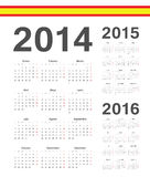 Set of spanish 2014, 2015, 2016 year vector calendars. Set of simple spanish 2014, 2015, 2016 year vector calendars. Week starts from Mondays Stock Images