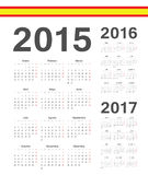 Set of Spanish 2015, 2016, 2017  year vector calendars Royalty Free Stock Images