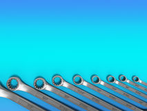 Set of spanners as background 3d render on gradient Royalty Free Stock Photography