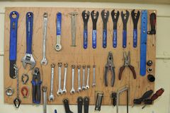 Spanners and bike maintenance tools royalty free stock images