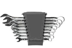 Set of spanners of wrenches. Set of different sized spanners or wrenches, isolated on white background Royalty Free Stock Photos