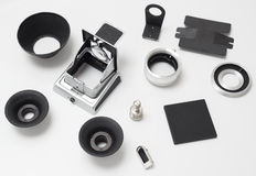 Set of spare parts for antique old medium format camera on white Stock Photo