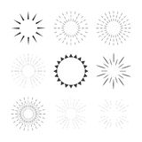 Set of sparkles and starbursts with rays. Design elements Royalty Free Stock Photography