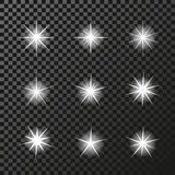 Set of sparkles white symbols on the dark background - star glitter, transparency stellar flare. Shining reflections. Stock Photography
