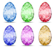 Set of sparkling eggs. Set of six colorful sparkling eggs Stock Photo