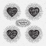 Set of sparkling hearts Royalty Free Stock Images
