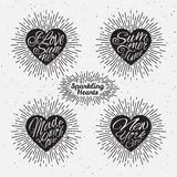 Set of sparkling hearts Royalty Free Stock Photography