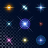 Set of sparkling multicolored stars Stock Photo