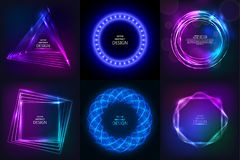 Set of sparkling neon banners. Multi-colored bright frames. Disco style. Shining geometrical figures. Design elements. Abstract backgrounds. Vector Stock Image