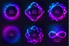 Set of sparkling neon banners. Multi-colored bright frames. Disco style. Shining geometrical figures. Design elements. Abstract backgrounds. Vector Stock Photos