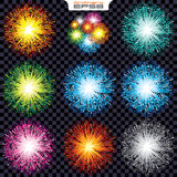 Set Sparks and Explodes. Set Sparks and Fireworks. Isolated Vector Design Elements Stock Photo
