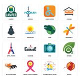 Set of sparta, celebrating 25 years, black panthers, dslr, eiffel tower, dino, locomotive, handicapped, camper icons. Set Of 16 simple  icons such as sparta Royalty Free Stock Photography