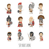 Set of spartan soldier costume characters Royalty Free Stock Photos