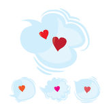 Set of speak and think clouds with red hearts. Cartoon love dialog bubbles. Flat vector Valentines Day design elements,  Stock Image