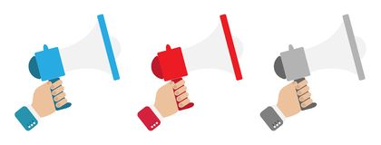 Set with speaker in the left hand in different colors of red, blue and gray royalty free illustration