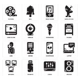 Set of Speaker, Levels, Network, Smartphone, User, Microphone, Video player, Music Film reel icons. Set Of 16 simple  icons such as Speaker, Levels, Pendrive Stock Photos
