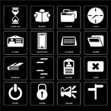 Set of, Speaker, Switch, Id card, Notebook, Calendar, Folder, Ho. Set Of 16 icons such as, Speaker, Locked, Switch, Close, Hourglass, Id card, Notebook, Calendar Stock Illustration