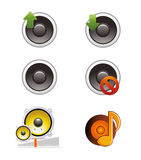 Set of Speaker and Volume Icons.  Royalty Free Stock Images