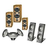 A Set of Speaker on White Background Royalty Free Stock Photos