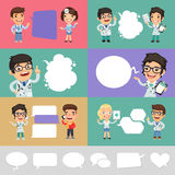 Set of a Speaking Cartoon Doctors Royalty Free Stock Image
