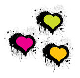 Set of Special Grunge Hearts. Grunge hearts of 3 colors. Made out unique blobs and splatters Stock Image