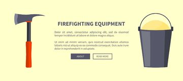Set of Special Isolated Fire Protection Equipment. Firefighting equipment vector illustration made in flat design depicting isolated sharp axe with red-colored Stock Photos