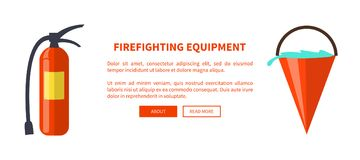 Set of Special Isolated Fire Protection Equipment. Fireghfighting equipment vector illustration made in flat design depicting isolated fire extinguisher and Royalty Free Stock Photos