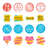 Set of special offer sale tags. Discount retail stickers on white Stock Photos