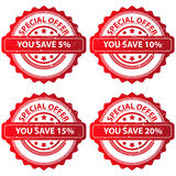 Set of special offer stamps. Illustrated set of special offer saving stamps isolated on a white background Stock Image