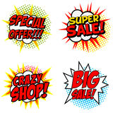 Set of Special Offer!!! Super Sale! Crazy SHOP! Big Sale! phrase Royalty Free Stock Photos