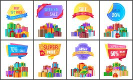 Set of Special Price Exclusive Discount Posters. Vector illustration with promotion cards with colorful stickers, ad text, cute gifts isolated on white Stock Image