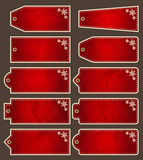 Set of special red paper labels for christmas, vector Stock Images