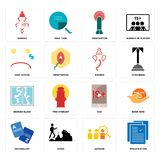 Set of specification, advisor, vocabulary, xxx, broken glass, ganesh, cost uction, penetration, ganesh icons. Set Of 16 simple  icons such as specification Stock Photo
