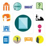 Set of specification, shepherd, set top box, hiker, book now, orchid, municipal, dab icons. Set Of 13 simple editable icons such as specification, shepherd, set Royalty Free Stock Image