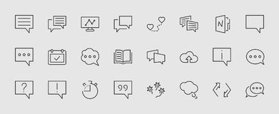 Set of speech bubble chat vector lines of icons. Editable move. 32x32 pixels. stock illustration