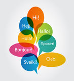 Set of Speech Bubble with Hello Word on Different Stock Photo