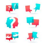 Set of speech bubbles. With people face and question mark Royalty Free Stock Images
