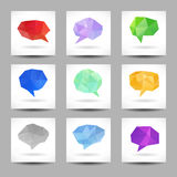 Set of speech bubbles with abstract triangles Stock Photography