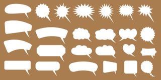 Set of speech bubbles. Blank empty vector white speech bubbles. Cartoon balloon word design. Vector illustration isolated on white background royalty free illustration