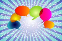 Set of Speech bubbles on a blue background arranged in an order. This represents a group of people talking, chatting stock illustration