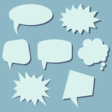 Set of speech bubbles on a blue background. Speech bubbles without phrases. Vector illustration royalty free illustration