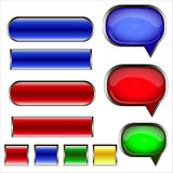 Set of speech bubbles and buttons. Set of speech colored bubbles and buttons Royalty Free Stock Photo