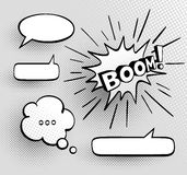 Set of speech bubbles. Set of speech comic bubbles. Comic sound effect. Halftone shadows. Vector illustration Royalty Free Stock Photos