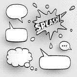Set of speech bubbles. Comic sound effect. Halftone shadows. Vector illustration Stock Images
