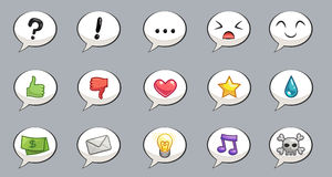 Set of speech bubbles with emotions Stock Photography