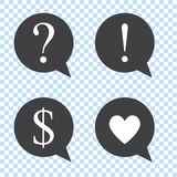 Set of speech bubbles with: Exclamation mark, Question mark, Heart, Dollar symbol. stock illustration